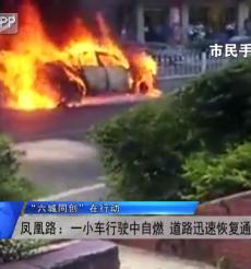 """(""""六城同创""""在行动)凤凰路:一小车行驶中自燃 道路迅速恢复通行"""