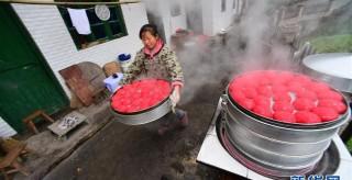 貴州玉屏:蒸紅粑 迎新年