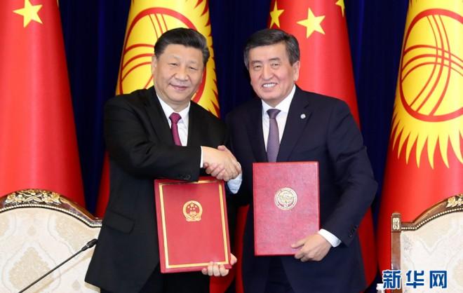 習近平同吉爾吉斯斯坦總統熱恩別科夫會談