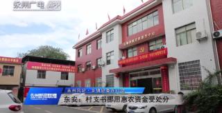 (永州风纪·乡镇纪委在行动)东安:村支书挪用惠农资金受处分